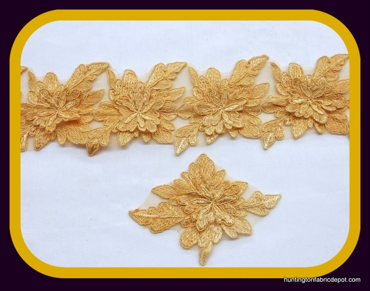 Light Gold 3D Floral Lace Trim/Applique by The Yard
