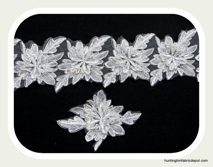 White 3D Floral Lace Trim/Applique by The Yard