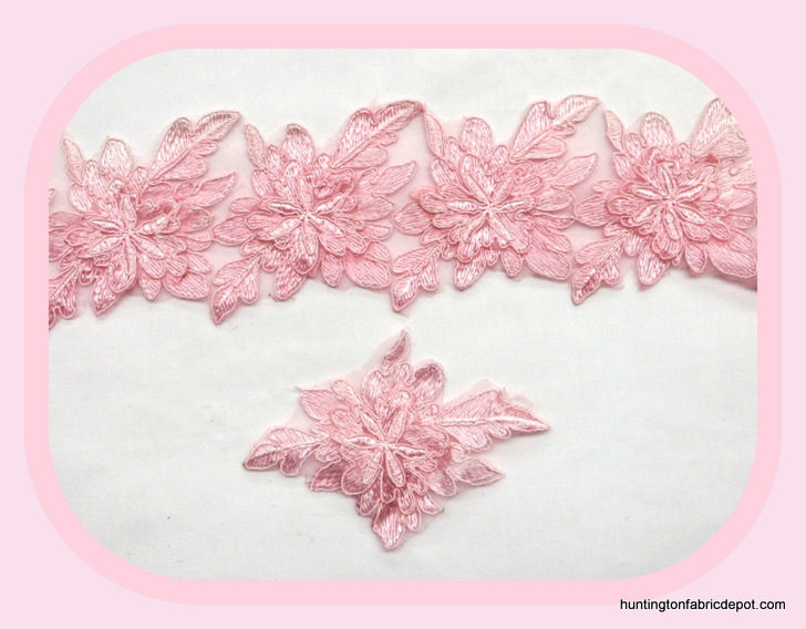 Pink 3D Floral Lace Trim/Applique by The Yard