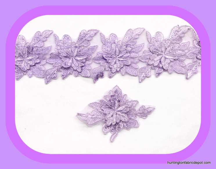Lavender 3D Floral Lace Trim/Applique by The Yard