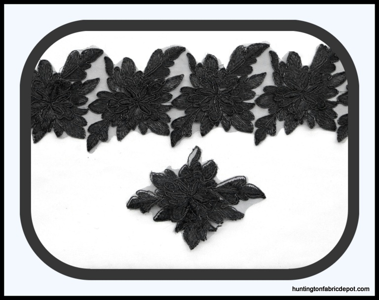 Black 3D Floral Lace Trim/Applique by The Yard