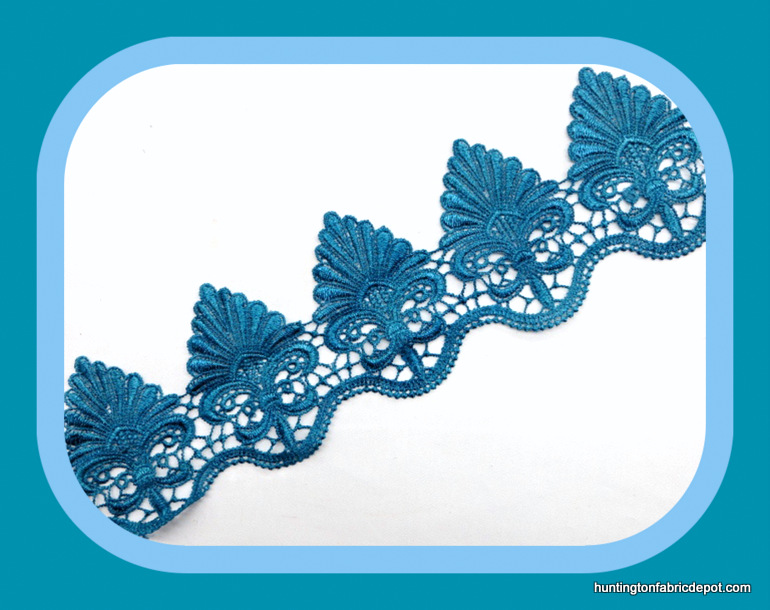 Blue Guipure Lace Trim