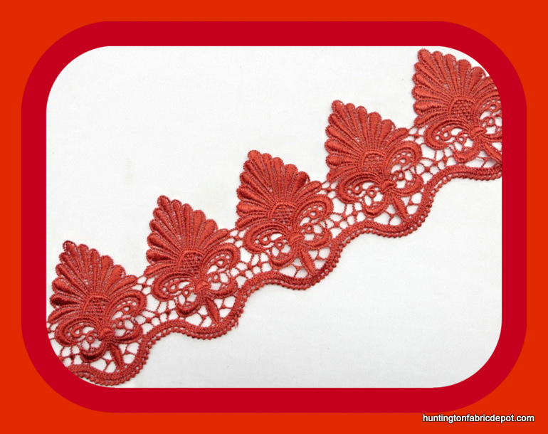 Red Guipure Lace Trim