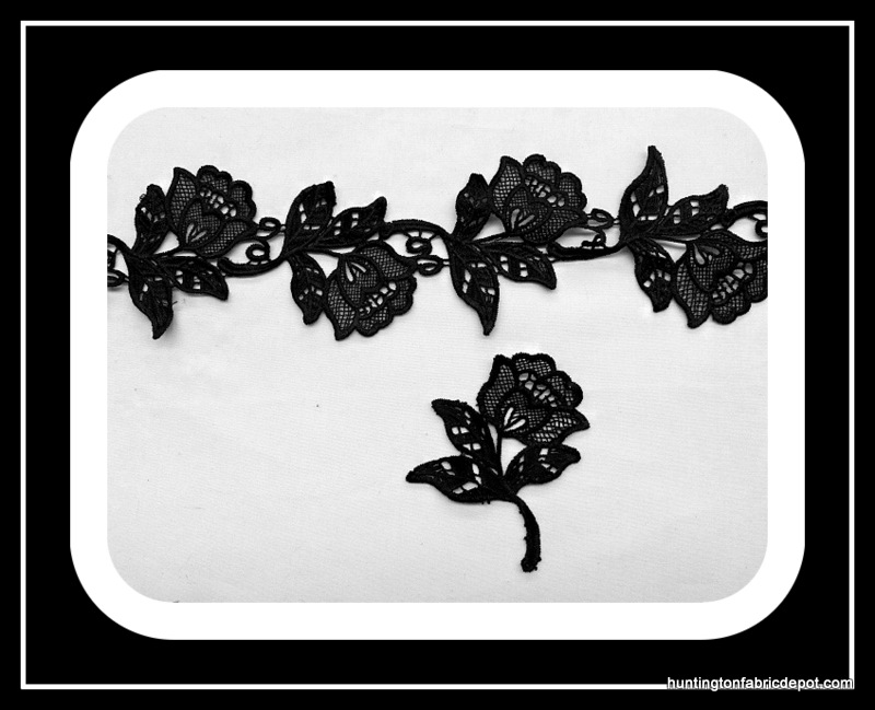 Black Roses Lace Trim/Applique by The Yard