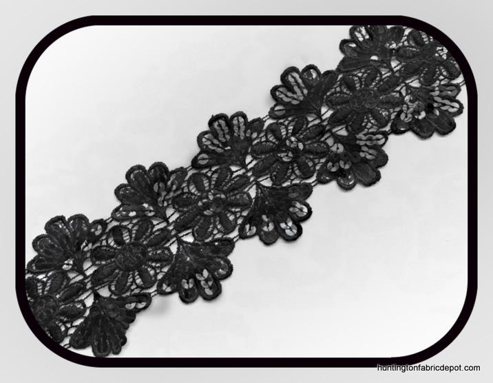 Black Double Scalloped Guipure Lace Trim with Black Sequins