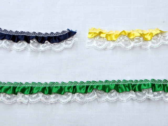 "1"" Gathered/Ruffled Iridescent Lace Trim with Satin Ribbon"