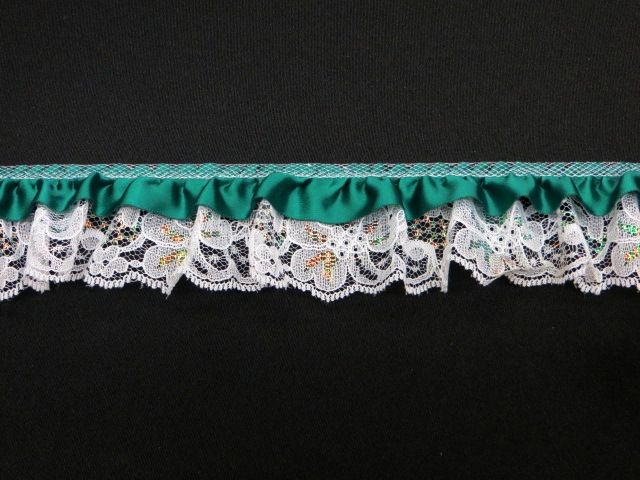 "2"" Ruffled White Iridescent Lace with Hunter Green Satin Ribbon"