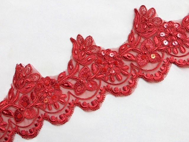 Red Embroidered Beaded/Sequins Venice Lace Trim