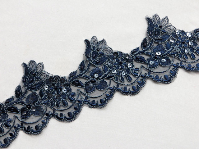 Navy Embroidered Beaded/Sequins Venice Lace Trim