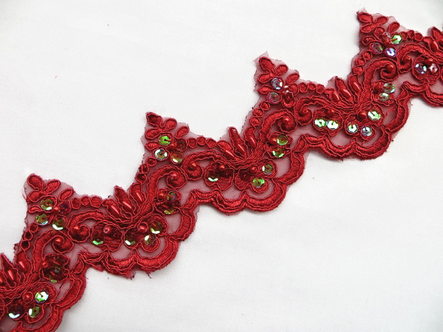 Dark Red Embroidered Beaded/Iridescent Sequins Venice Lace Trim