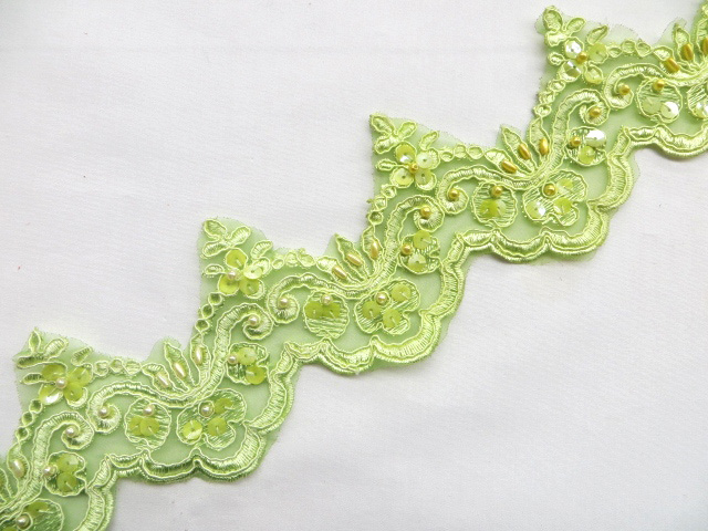 Kiwi/Lime Embroidered Beaded/Sequins Venice Lace Trim