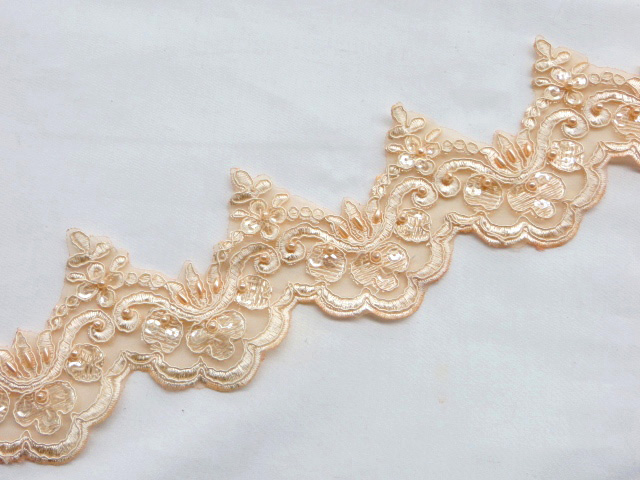 Light Peach Embroidered Beaded/Sequins Venice Lace Trim