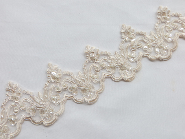 Natural Embroidered Beaded/Sequins Venice Lace Trim
