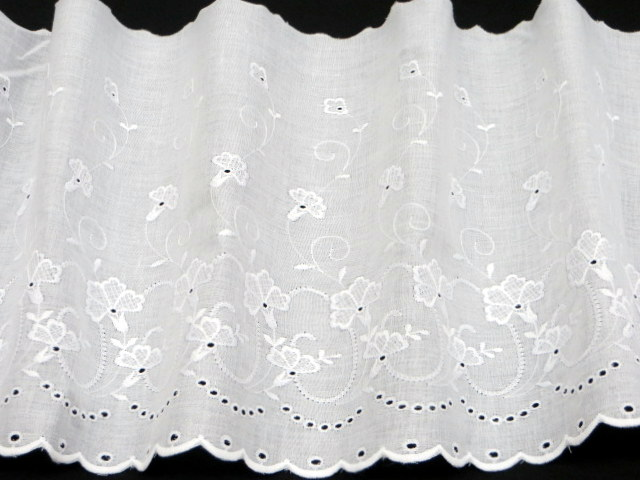 10-inch White Embroidered Eyelet Trim