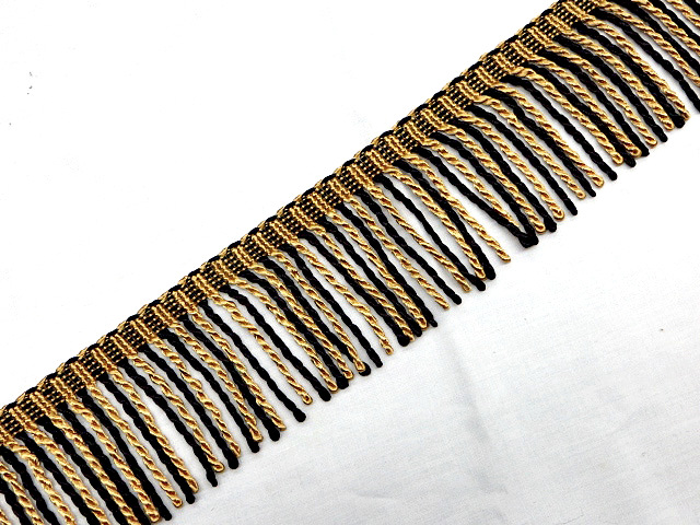 "3"" Black & Gold Bullion Fringe Trim"