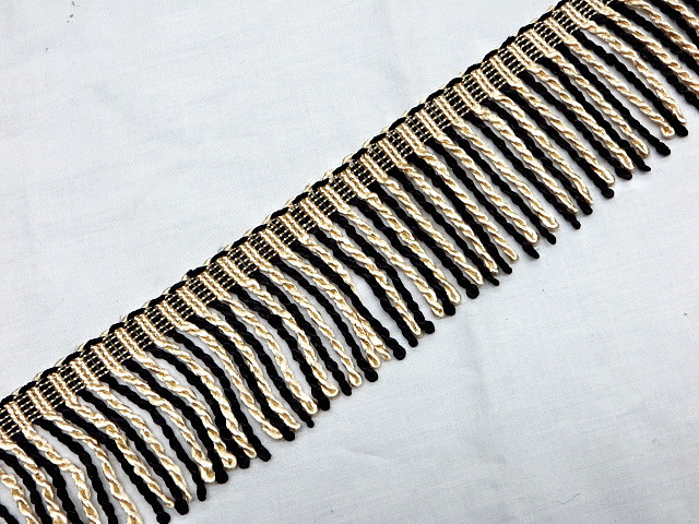 "3"" Black & Ivory Bullion Fringe Trim"