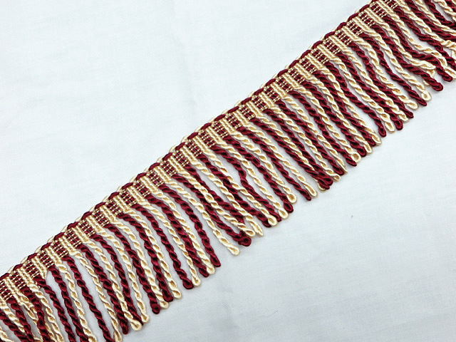 "3"" Burgundy & Ivory Bullion Fringe Trim"