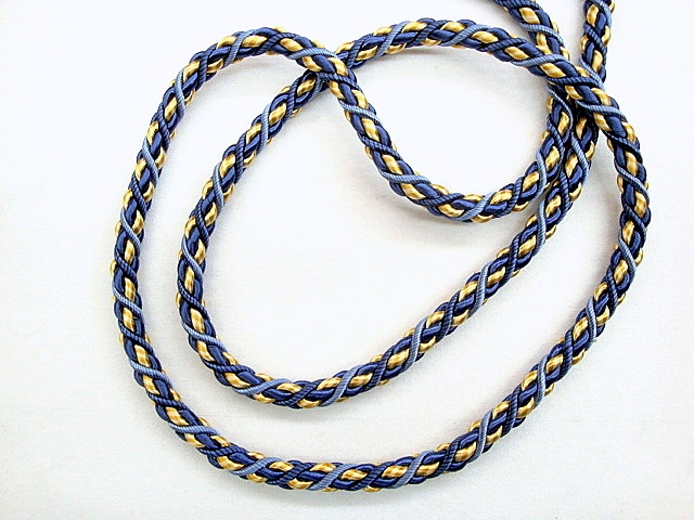 1/2 inch Blue/Gold Twisted Cord Trim