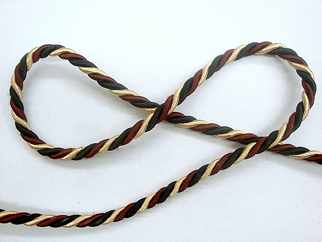 3/8 inch Black, Maroon and Gold Twisted Cord Trim