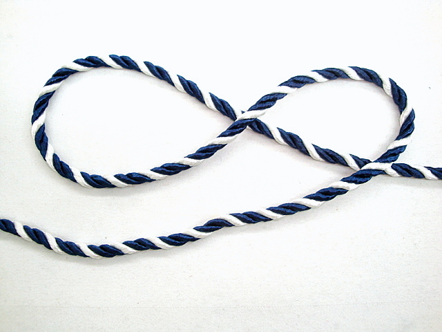 1/4 inch White and Blue Twisted Cord Trim