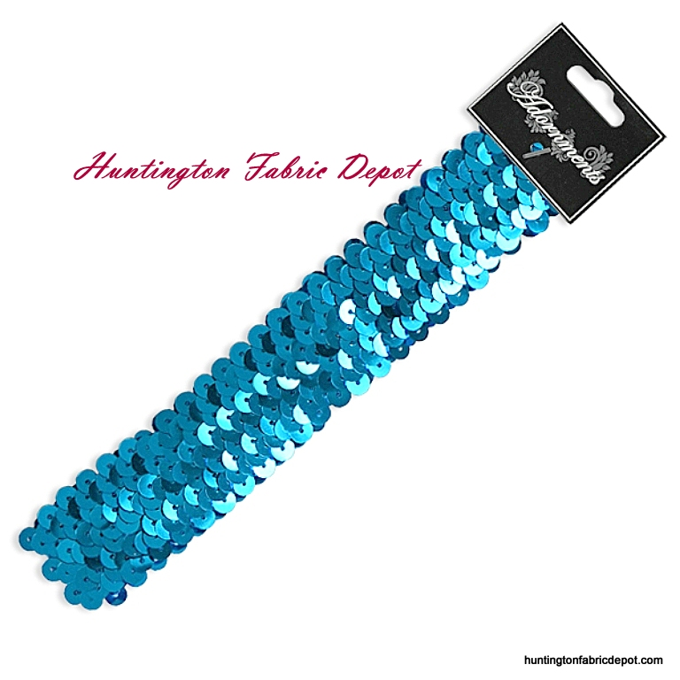 Turquoise Sparkly Stretch Sequin Headband