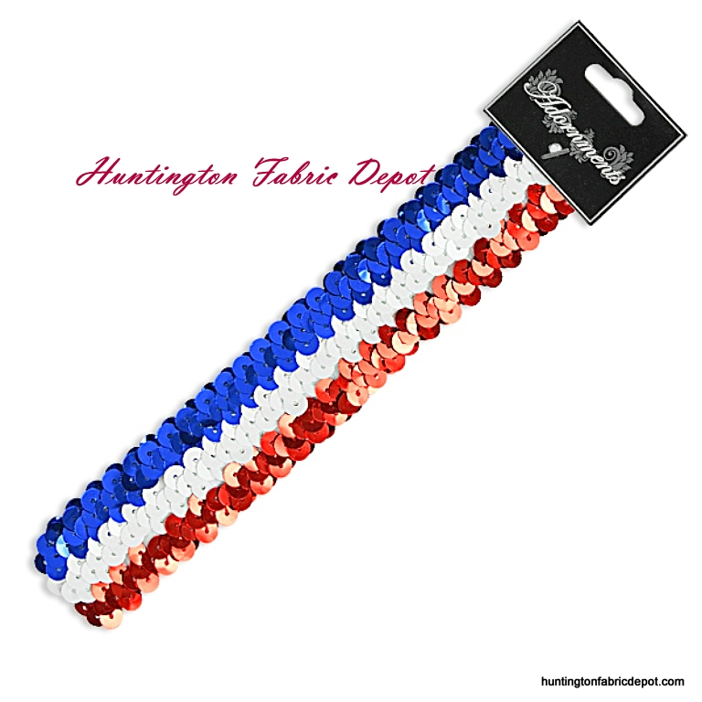 Red/White/Blue Sparkly Stretch Sequin Headband