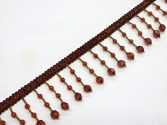 Burgundy/Antique Gold Beaded Fringe Trim