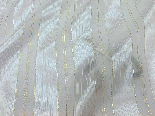 Glossy White/Gold 118 inch Wide Sheer Voile/Chiffon Fabric