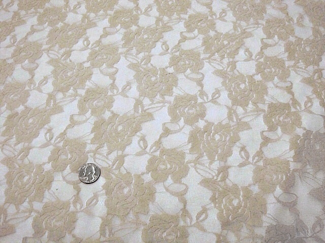 Beige stretch lace fabric