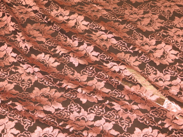 Cameo pink/brown lace fabric