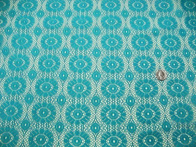 Turquoise Crochet Lace Fabric