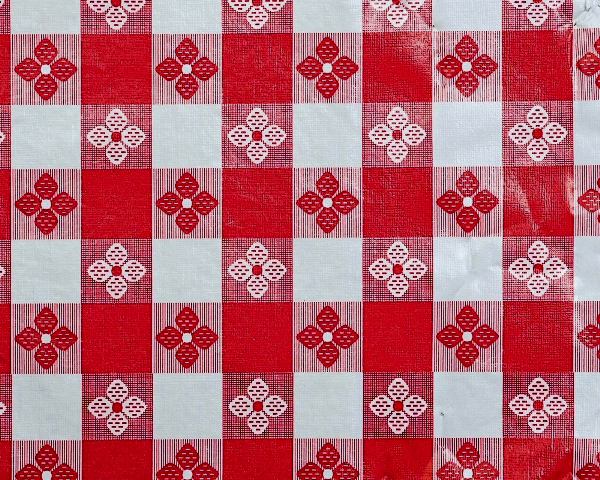 Red & White Tavern Check Tablecloth Vinyl