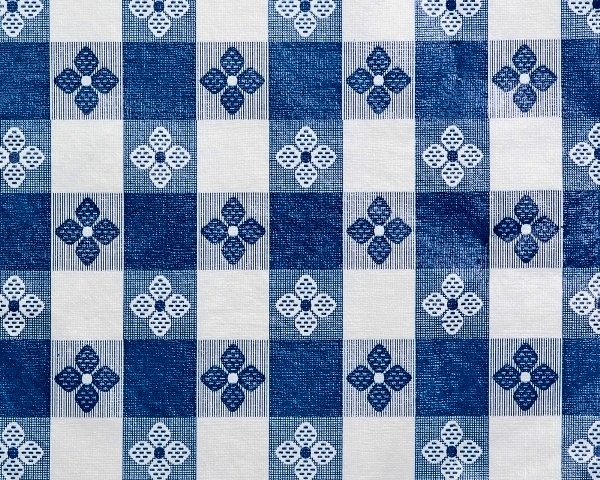 Blue & White Tavern Check Tablecloth Vinyl