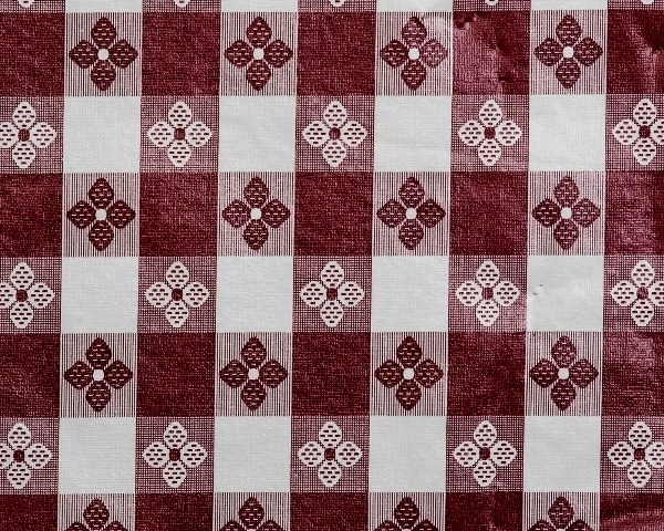 Maroon & White Tavern Check Tablecloth Vinyl